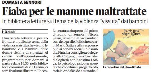 Piccolo Orso A Sennori Per Parlare Di Violenza Assistita